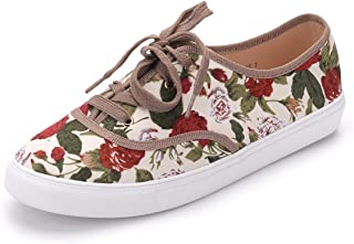 A-Blythe Women Canvas Floral Lace Up Flat Sneaker