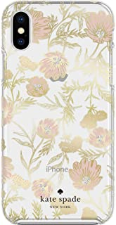 Kate Spade Hardshell Case for Apple iPhone X & XS - Pink & Gold Flowers w/ Gems