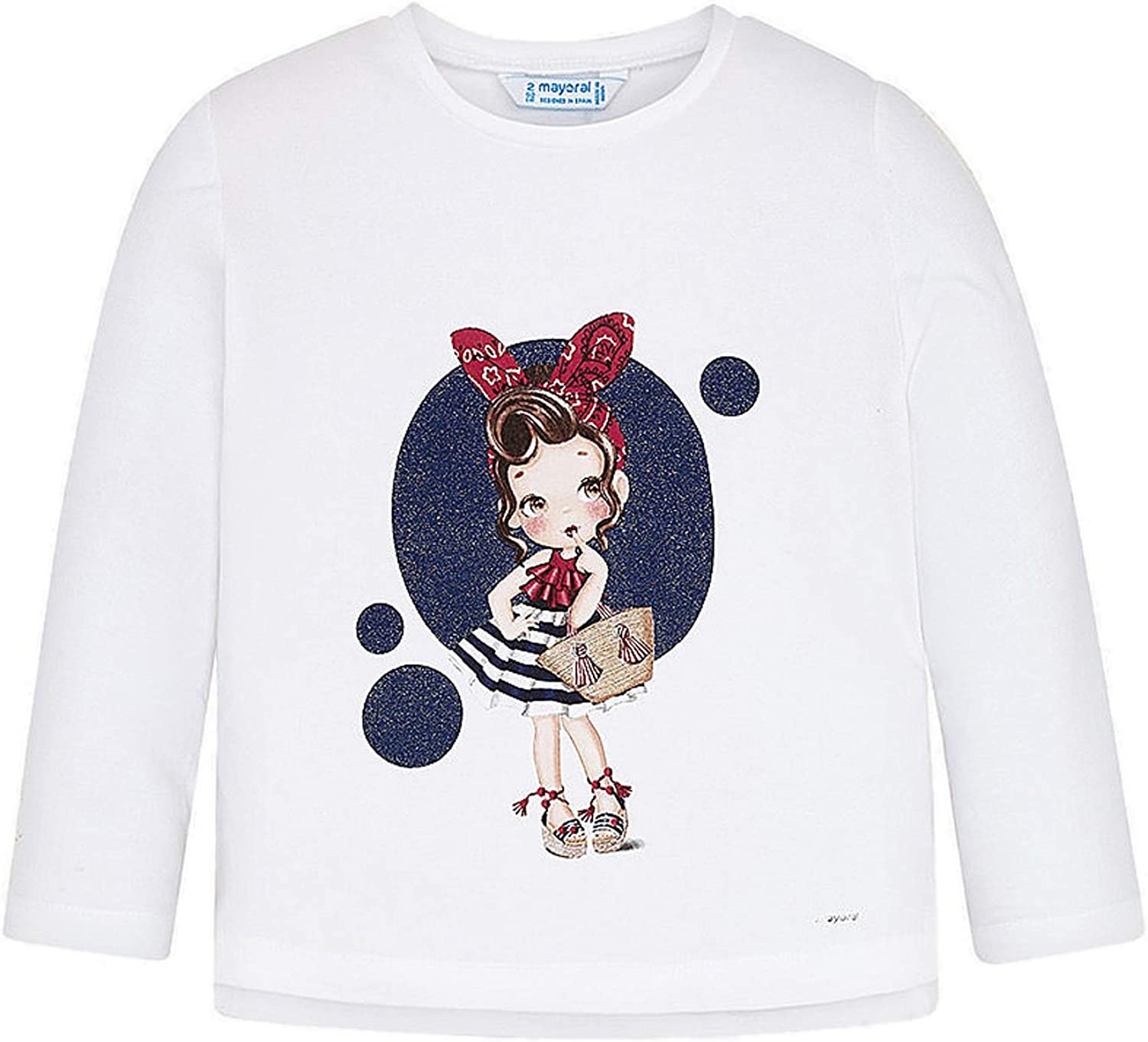 Mayoral - L/s Shirt for Girls - 3021, Whit-Navy