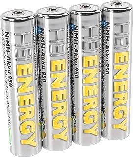 HEITECH AAA Akku Micro 950 mAh 1,2V NiMH TÜV geprüft 4 Stück   Wiederaufladbare Batterien mit geringer Selbstentladung   Akkus für Geräte mit hohem Stromverbrauch
