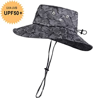 Breathable Wide Brim Boonie Hat Outdoor Waterproof UPF 50+ Sun Protection Mesh Safari Sun hat for Travel Fishing