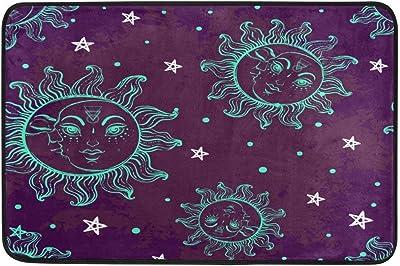 Hand Sketched Trendy Blue Sun Moon Purple Doormat Entrance Mat Indoor/Outdoor Door Mats Floor Mat Rug Mat 23.6x15.7 inch
