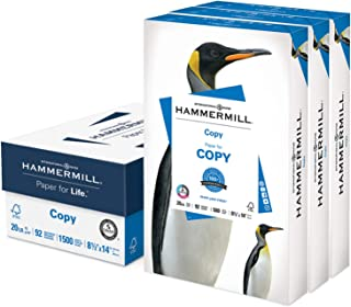 $41 » Hammermill Printer Paper, 20 lb Copy Paper, 8.5 x 14 - 3 Ream (1,500 Sheets) - 92 Bright, Made in the USA