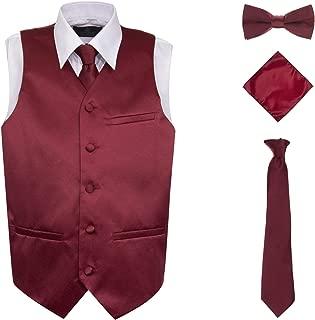 Boy's 4 Piece Formal Satin Tuxedo Vest Set with Vest Tie Bowtie Handkerchief