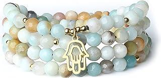 (コアイ)COAI ハムサの手108珠 多色 カラフル カットアマゾナイト 合格祈願 開運お守りパワーストーンブレスレット 祈り四連数珠 ネックレス メンズ レディース