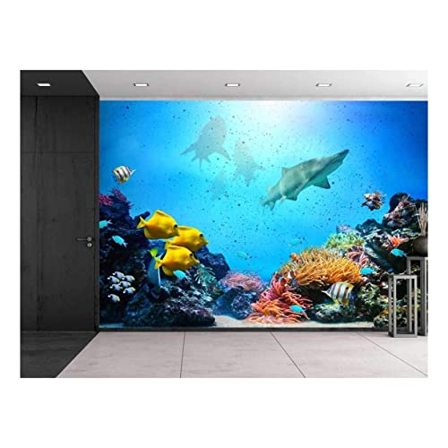 Wall26 - Large Wall Mural - Aquarium with Coral Reef, Colorful Fish Groups, Sharks