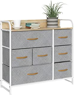 7 Drawers Dresser Fabric Storage Organizer for Bedroom, Hallway, Entryway, Closets with Black Solid Wood Handle,White