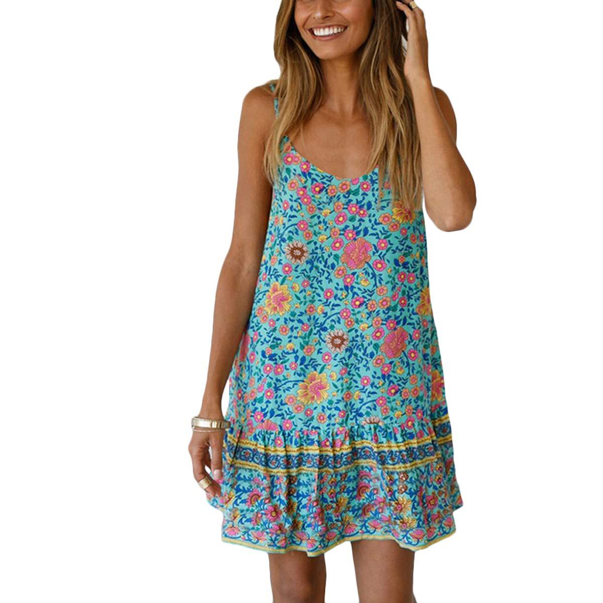 Available at Amazon: AELSON Women's Boho V Neck Dress Floral Print Spaghetti Straps Summer Beach Dress