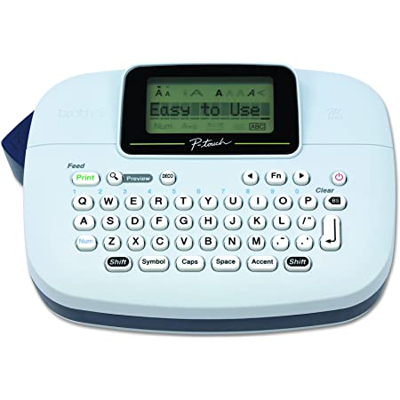Brother P-Touch, PTM95, Handy Label Maker, 9 Type Styles, 8 Deco Mode Patterns, Navy Blue, Blue Gray