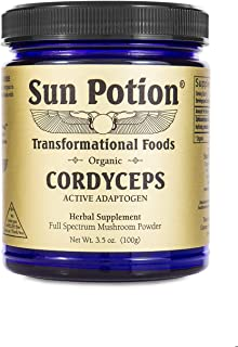 Cordyceps Mushroom Powder 100g by Sun Potion - Certified Organic Extract - Superfood Supplement, Adaptogen, Immune Booster, Recovery, Energy Support
