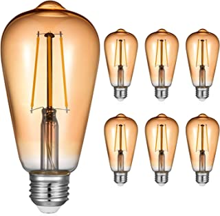 5W E27 Edison Bombilla Vintage, Blanco Cálido 2700K E27 Bombillas LED Filamento, No Regulable, Equivalente Incandescente de 40W 50W, E27 Bombillas LED Vintage AC220-240V, Paquete de 6, Eco.Luma