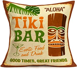 Hopyeer Tiki Bar Decor Throw Pillow Cushion Cover, Vintage Polynesian Statue with Tropical Drink Funny Quote Words Design Cotton Linen Pillowcase for Home Sofa Live Room 18