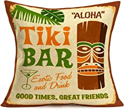 ShareJ Africa Aloha Throw Pillow Covers Cotton Linen Tiki Bar Exotic Food and Drink Aboriginal Vintage Pillowcase 18x18 Inches Square Decor for Home Bed Couch Sofa