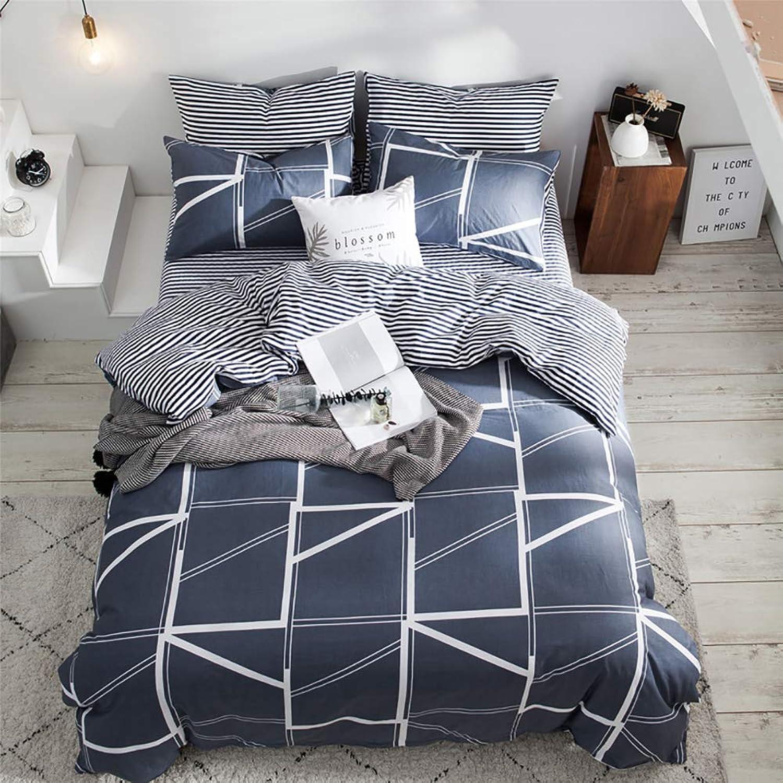 Omelas 3 pcs Plaid Duvet Cover Set Queen Size, 100% Cotton Navy bluee Geometric Grid Pattern Printed Bedding Set, 1x Duvet Cover Queen Full 90x90 + 2 Pillow Shams 20x26