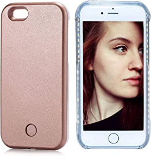 FULLOPTO Iphone 5 5s LED Light Case, Selfie LED Phone Case with Rechargeable Illuminated Light Light (Rose Gold)