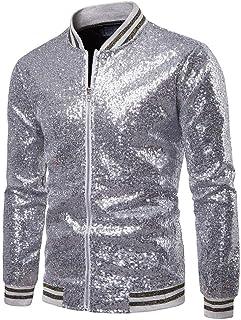 Shiny Sequin Coat for Men's Blazer Business Casual Zipper Slim Fit Jacket Formal Male Nightclub Blazer and Coats Sequins B...