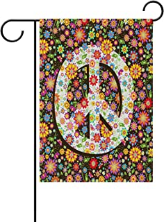ALAZA Hippie Floral Peace Sign Polyester Garden Flag House Banner 12 x 18 inch, Two Sided Welcome Yard Decoration Flag for Wedding Party Home Decor