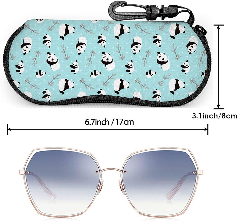 Cute Panda Eyeglasses Case Cartoon Style Panda Bamboo Branches Sunglasses Soft Case Ultra Lightweight Soft Neoprene Zipper Eyewear Bag