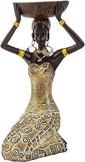 Lifestyle /& More Escultura Moderna Figura Decorativa Mono de Piedra Artificial Oro Antiguo 27x21 cm