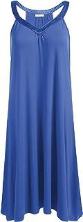 Ekouaer Nightgown Womens Sleeveless Sleepwear V Neck Racerback Sleep Dress S-XXL