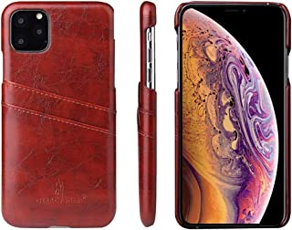 Protect Your Phone, Fierre Shann Retro Oil Wax Texture PU Leather Case with Card Slots for iPhone XIR (2019) for Cellphone. (Color : Brown)