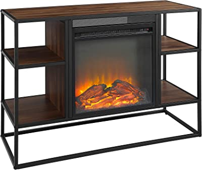 Home Accent Furnishings New 40 Inch Long Open-Shelf Fireplace Television Stand - Dark Walnut Finish