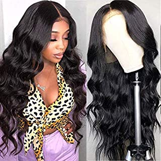 URALL Hair Brazilian body wave Lace Front wigs human hair 150% Density Unprocessed Virgin human hair wigs for black women Pre Plucked Natural Black (24inch)