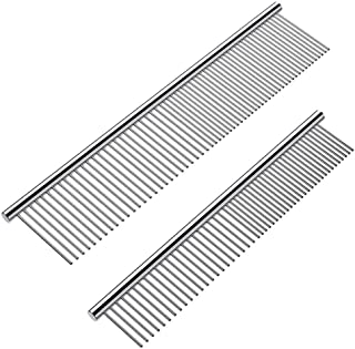 Cafhelp 2 Pack Dog Combs with Rounded Ends Stainless Steel Teeth, Cat Comb for Removing Tangles and Knots, Professional Gr...