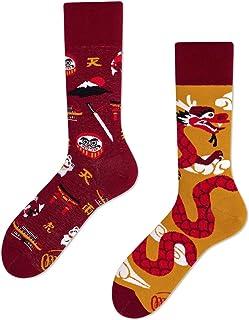 Many Mornings, Asian Dragon Calcetines multicolores con un dragón, algodón, katana, montaña Fuji, motivo oriental, japón