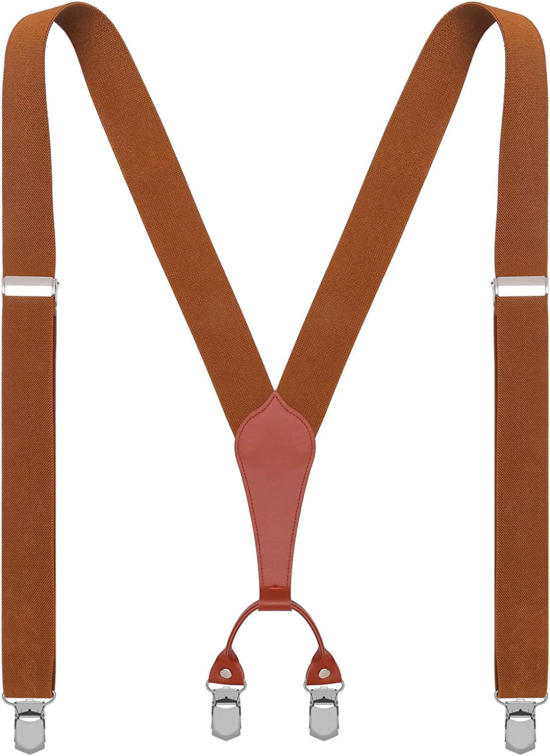 WDSKY Mens Suspenders Wide Heavy Duty Adjustable with 4 Clips