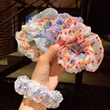 Shikick Rainbow Lace Hair Scrunchies 5PCS Elastic Hair Bands for Women or Girls Hair Accessories Great Gift for Holiday Se...