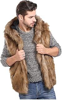 Inverlee Men Faux Fur Vest Jacket Sleeveless Winter Body Warm Coat Hooded Waistcoat Gilet