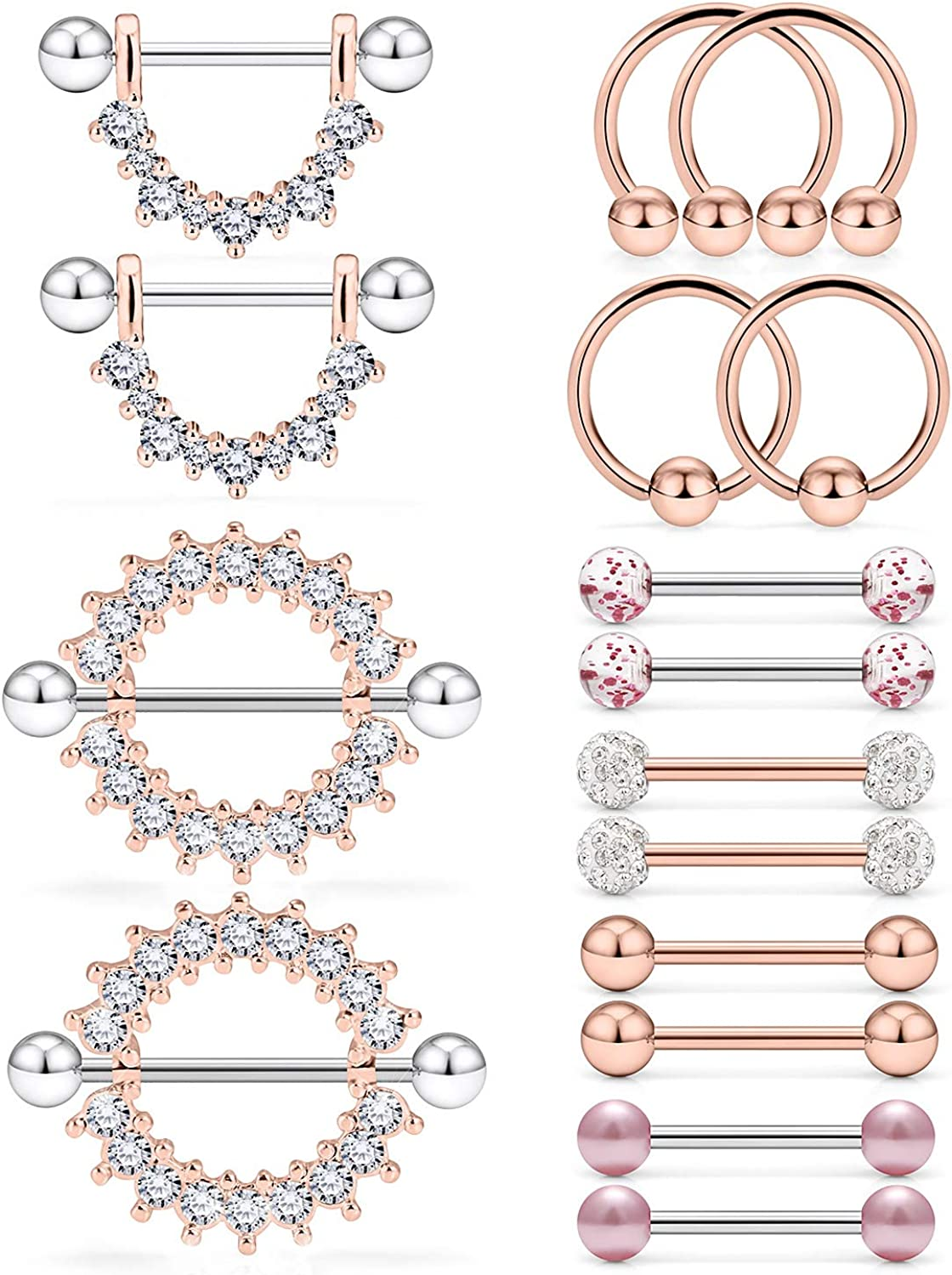 Ruifan 16G 9/16Inch Crystal Ball Nipple Tongue Tongue Shield Rings Stainless Steel Straight Barbell Body Piercing Jewelry Retainer