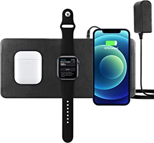 Wireless Charging Pad,Qi-Certified Wireless Charging Mat Station,Wireless Charging Mat Devices Compatible with Apple Watch iPhone 13 12 Mini Pro Max, Galaxy Series & All Qi Enabled Phones.