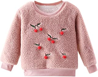 Mousmile Toddler Baby Girls Fleece Pullover Plush Lining Winter Warm Sweater Cherry Decor Print Thermal Top Outwear
