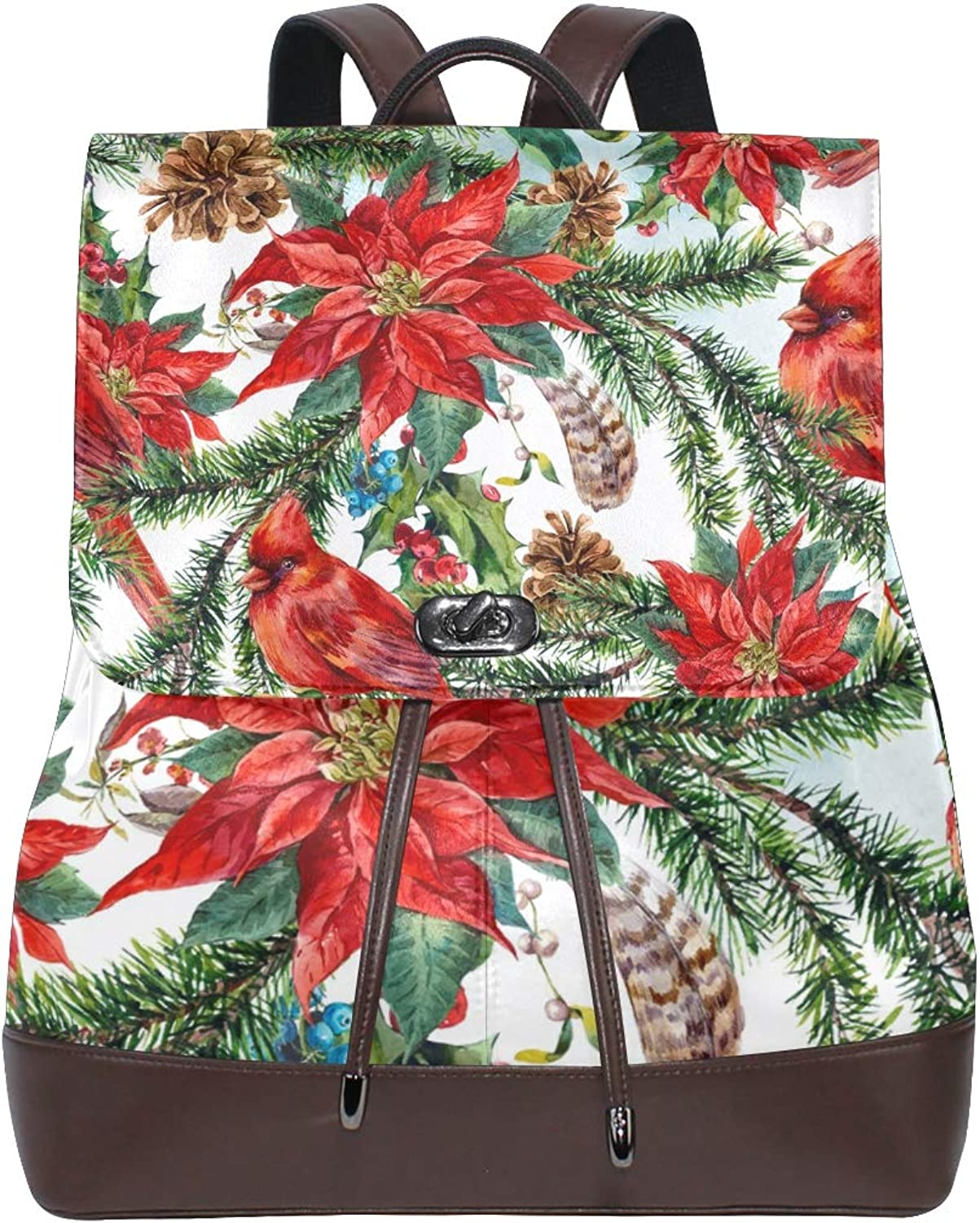 DEZIRO Leather Christmas Floral with Cardinals School Pack Backpacks Travel Bag
