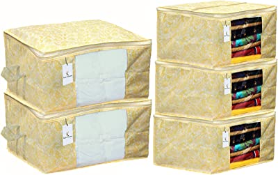 Kuber Industries Metallic Printed Non Woven 3 Pieces Saree Cover and 2 Pieces Underbed Storage Bag, Cloth Organizer for Storage, Blanket Cover Combo Set (Gold) -CTKTC38586