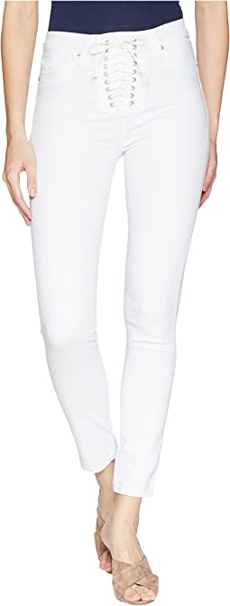 Hudson Bullocks High-Rise Lace-Up Skinny Jeans in Optical White