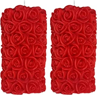Shraddha Creation Rose Pillar Candle, Red Color with English Rose Fragrance (Set of 2)
