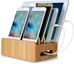 Bamboo Multi-Device Cords Organizer Stand Charging Station Docks Multi-Device Cords Organizer Stand Phone Holder
