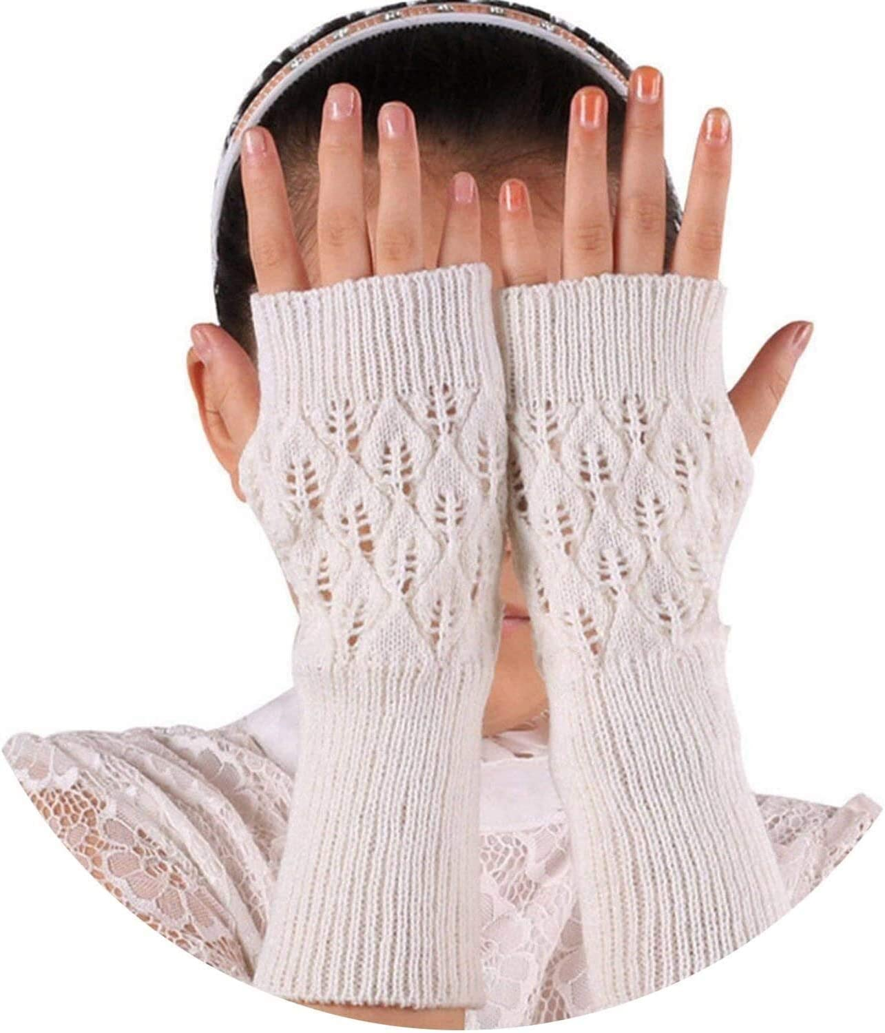 Samantha Warm Gloves Warm Knitted Fingerless Gloves Hollow Out Leaves Long Section Winter Long Fingerless Knitting Wool Mittens (Color : White, Size : Oneszie)