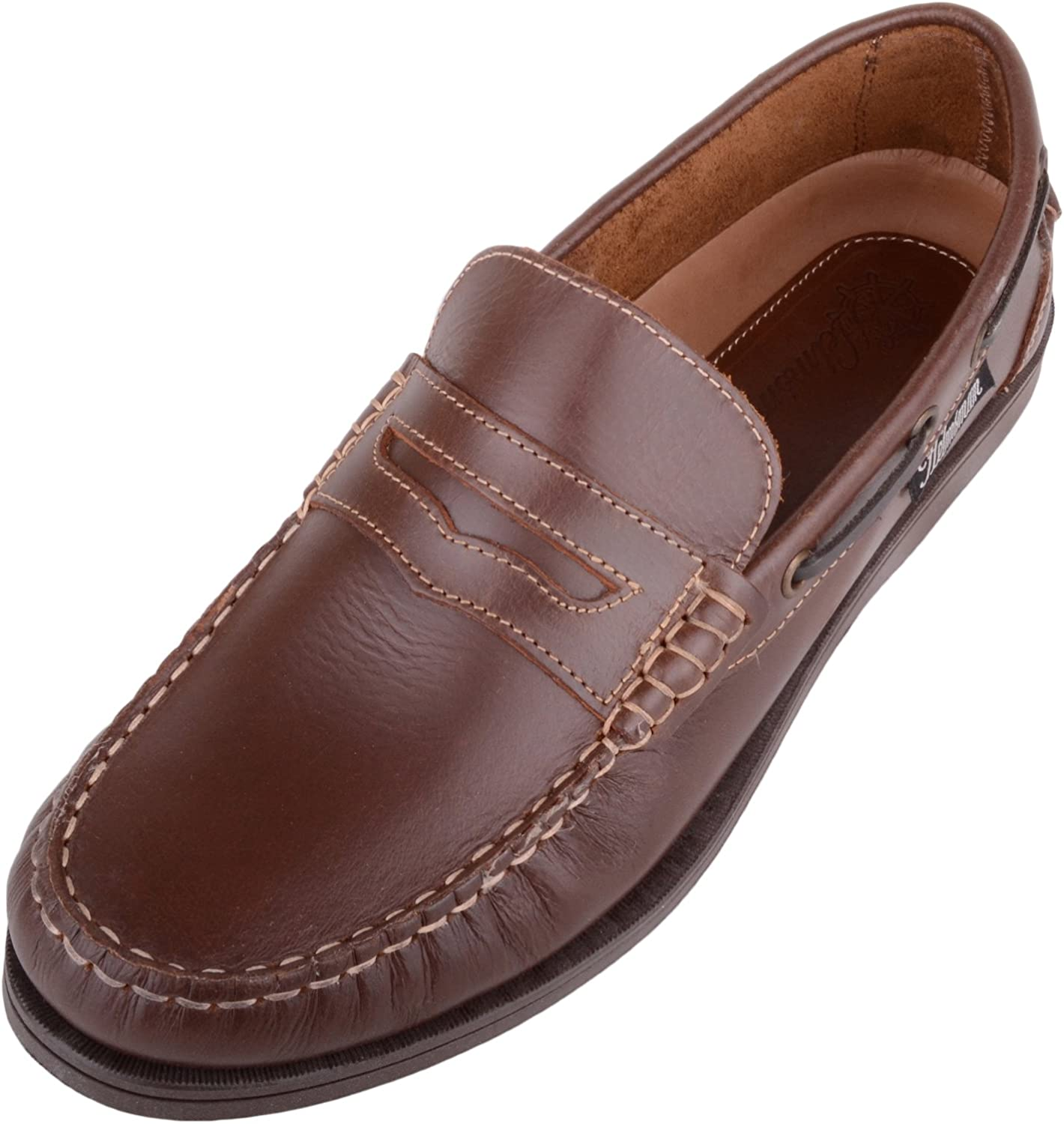 Mens Genuine Leather Summer Holiday Slip On Boat Deck shoes