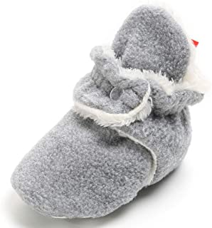 BABITINA Infant Shoes for Baby Boy Girl Fleece Booties with Non Skid Bottom Baby Slippers(0-18 Months)