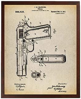 Turnip Designs Colt 1911 Semi-Automatic Pistol Patent Poster Art Print Colt 45 Pistol USAF Gun Enthusiast TNP60