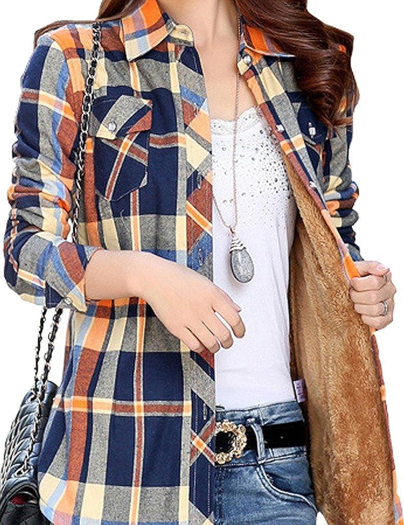 Lasher Women's Button Down Plaid Shirt Warm Long Sleeve Fleece Lined Top Blouse