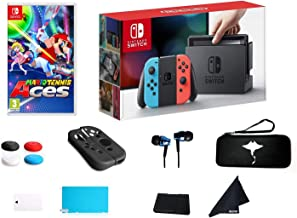 "$499 » Newest Switch with Neon Blue and Neon Red Joy-Con Console Bundle Mario Tennis Aces - 6.2"" Touchscreen LCD Display, Built-i..."