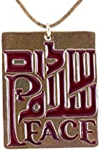 product image for Peace Trinity Translucent Red Enamel on Adjustable Length Natural Fiber Cord