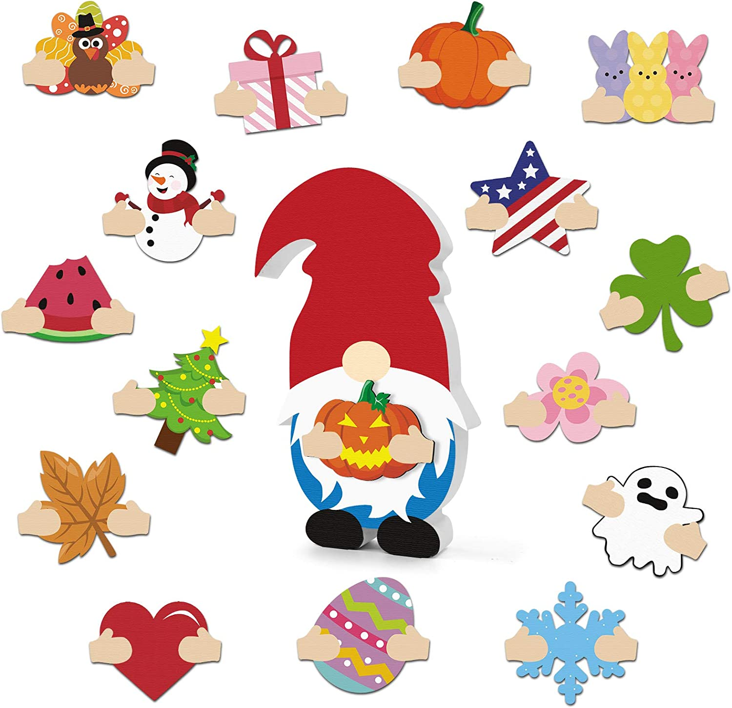 Huray Rayho DIY Wooden Gnome with Detachable Magnet Wood Patches Interchangeable Cutouts Kit Seasonal Craft Chunky Gnome Decorative Home Sign Fall Thanksgiving Christmas