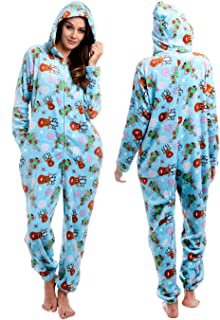 Body Candy Womens  Soft Hoodie Plush Onesie Critters, SO DEERLY, Blue - Large