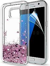 LeYi Funda Samsung Galaxy S7 Edge Silicona Purpurina Carcasa con HD Protectores de Pantalla,Transparente Cristal Bumper Telefono Gel TPU Fundas Case Cover Para Movil Galaxy S7 Edge ZX Oro Rosa